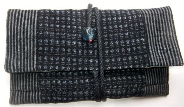 着物リメイク 唐桟縞と男絣で作った和風財布 1213