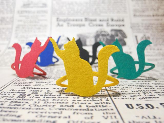 【送料¥80】 猫のブックマーク・色々猫 / 赤猫・黒猫・黄猫・緑猫・青猫 (各2匹)