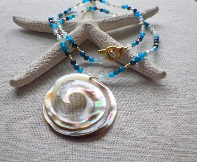 Swirl Wave Ocean Long Necklace