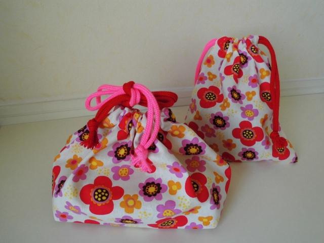 お弁当袋とコップ袋のセット(Wひも2カラー)