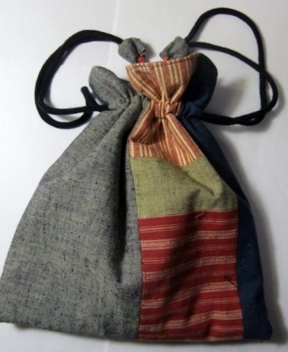 着物リメイク 四国の土佐紬で作った巾着袋 1215