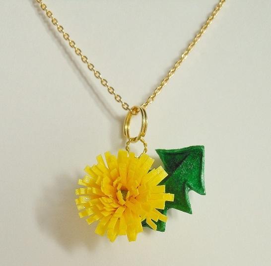 【和紙】mini dandelion タンポポのネックレス