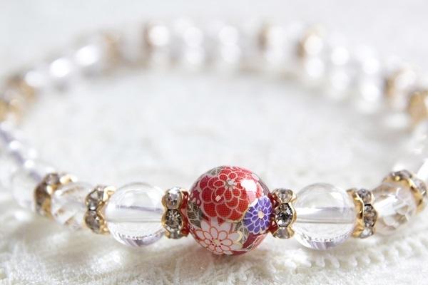 プリント天然石のブレスレット(本水晶)