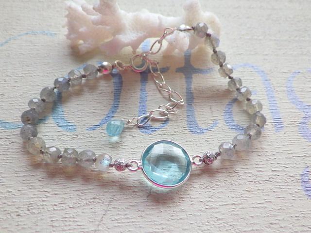 ☆3月誕生石☆ アクアマリンとラブラドライトのブレスレット silver925