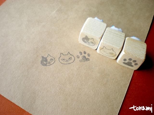 猫の顔+肉球のはんこセット34