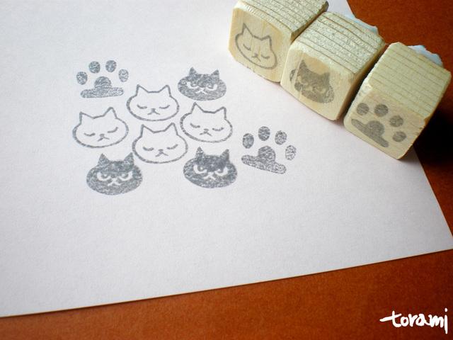 猫の顔+肉球のはんこセット35