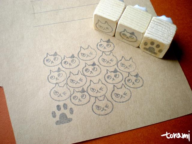 猫の顔+肉球のはんこセット36