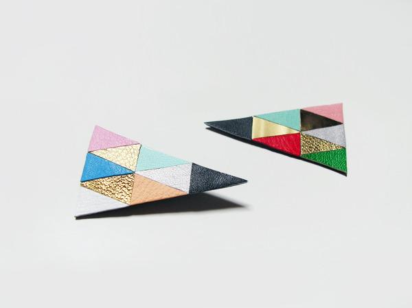 (再販)二等辺三角形のカラフル革ブローチ