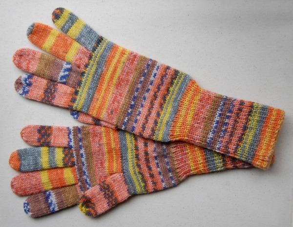 手編み5本指手袋 No.18