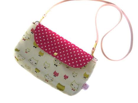 横ながポシェット★おすましネコちゃん&ピンクドット