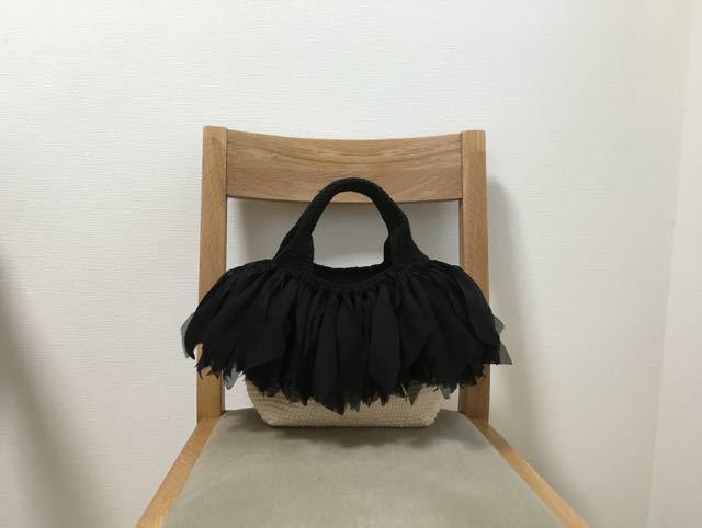 タコ糸のフリンジ付きトート (NATURAL×BK)