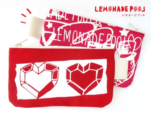 ダイアモンドハートペンケース(レッド×ピンク)