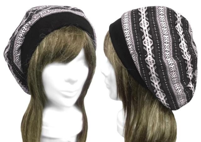 フォークロア調ジャガードニット/リブ付ベレー帽(ゆったり)◆灰系