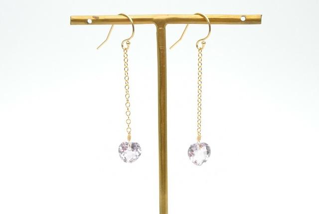 再販【14kgf】宝石質ピンクアメジスト(ハート)のチェーンピアス