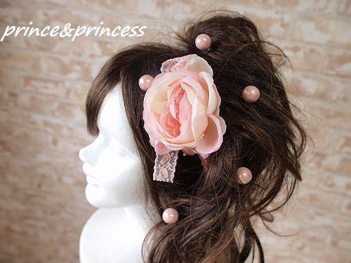 ピンクパールとふんわりローズの髪飾りセット