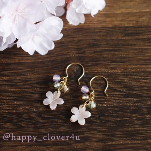 【さくら、咲く】 ピンクシェルの桜と3色チェコビーズのピアス*/p559