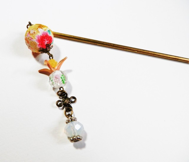 折り鶴×とんぼ玉かんざし・黄
