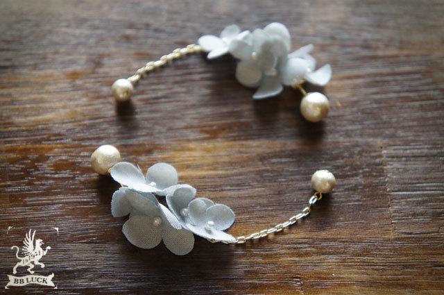 pierce 【 ちいさな紫陽花とコットンパールのピアス * blue gray 】