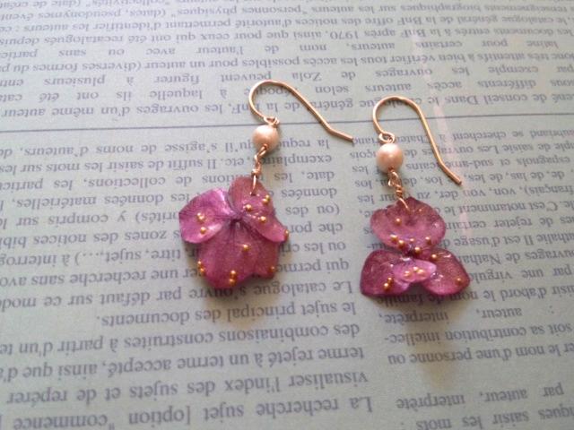 14KGF* 紫陽花*パールピアス