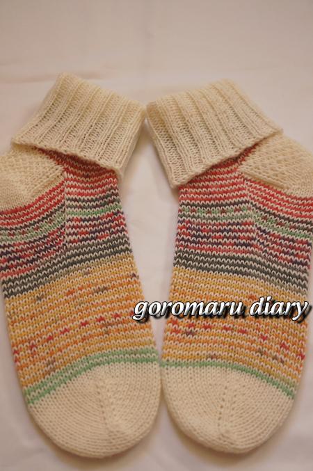 ☆ウォッシャブル☆足首暖か手編みの折り返し靴下
