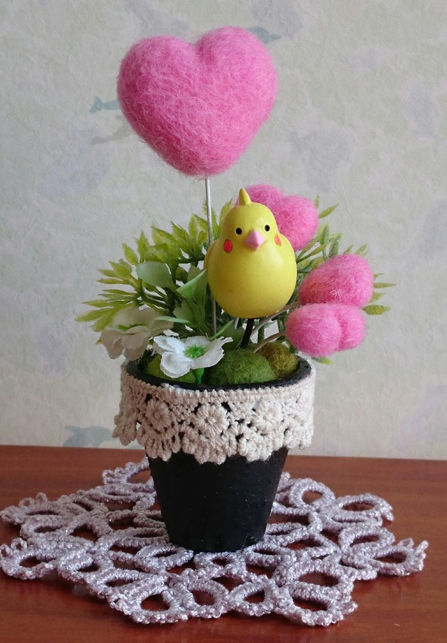 羊毛ハートと小鳥さん  (ピンク)