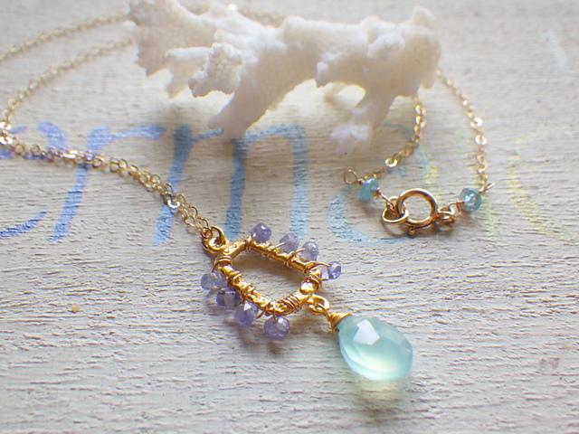 Aqua sea drop  *14kgf*  カルセドニーとアイオライトのマーメイドネックレス