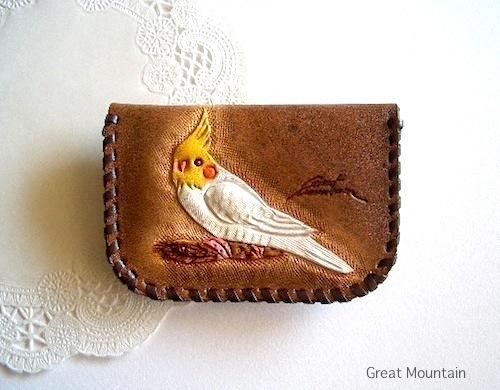 オカメインコ 鳥グッズ 革 インコ コインケース インコ カードケース 鳥