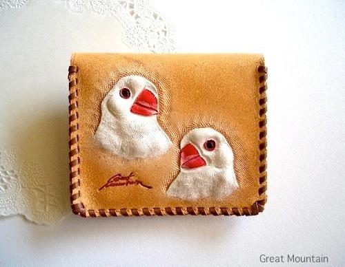 文鳥 白文鳥 インコ 財布 鳥グッズ コインケース 革 カード インコグッズ 鳥