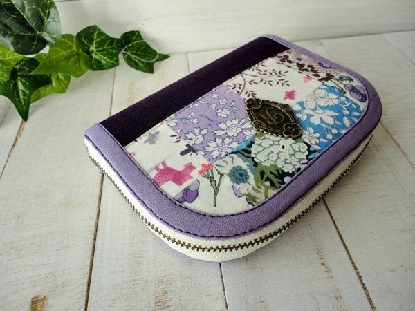 【訳あり特価】ラウンドミニ財布・リバティのパッチワーク♪紫系