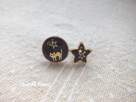 ○猫と☆星のピアス