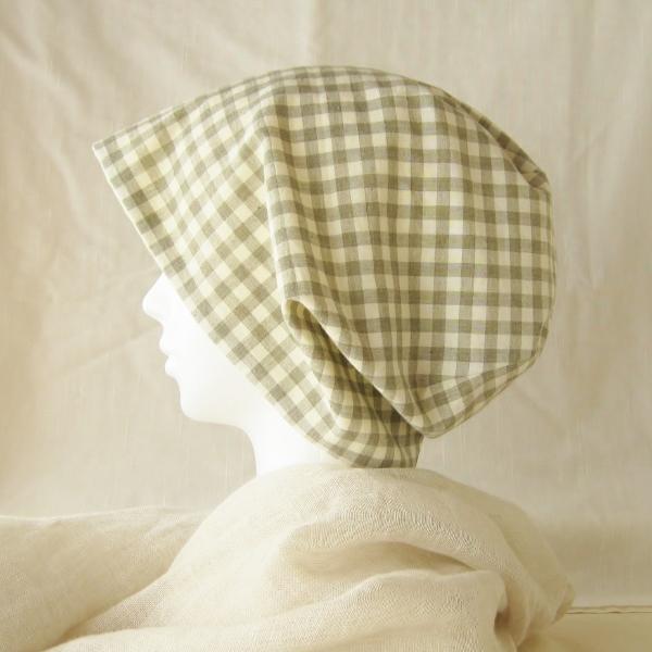 夏に涼しく下地にもなる ゆったりガーゼ帽子ロング丈 オリーブチェック レモンイエロー(CGR-006-OL)