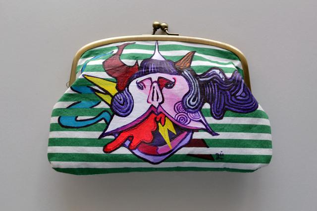 【手描き】赤い風船 がまぐち財布