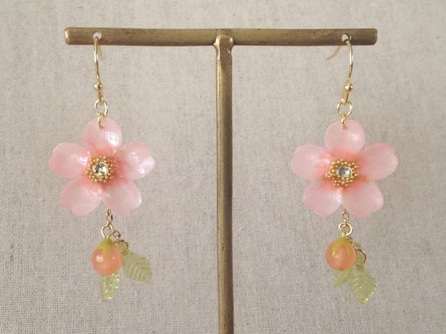 染め花を樹脂加工した桜のぶら下がりピアス(蕾&葉付、ピンク)