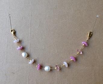 お花畑(ピンクx淡水パール) 羽織紐