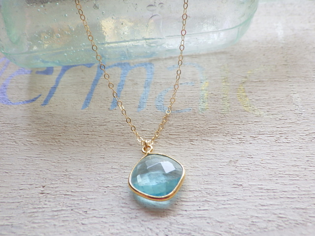 ☆3月誕生石☆ Framed Aquamarine Necklace 14kgf