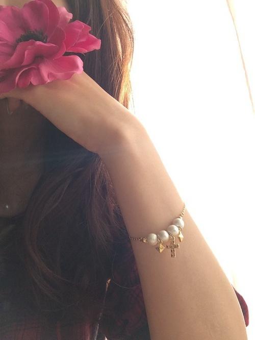 cross×cottonpearl bracelet