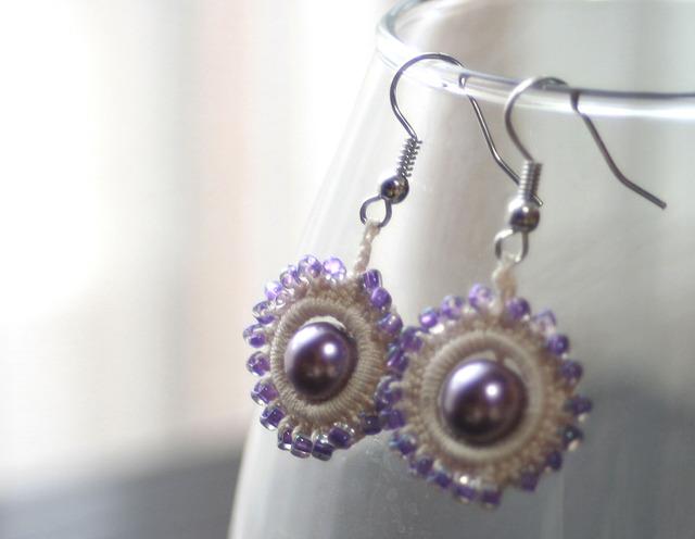 編みこみピアス_紫×紫