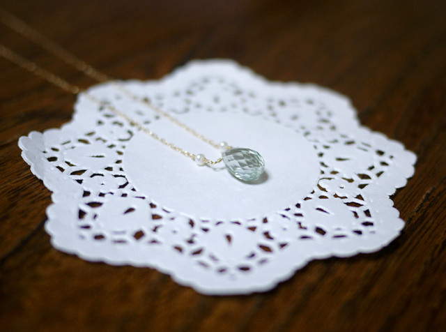 [K14gf]宝石質 大粒グリーンアメジストネックレス