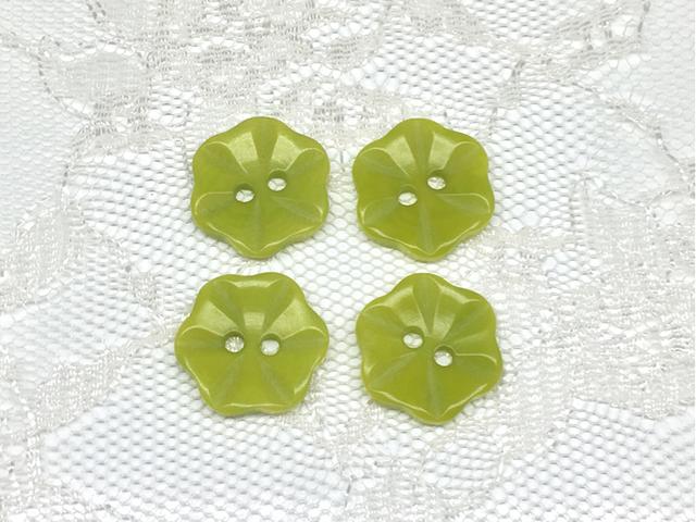 ボタン:フラワー型(S)/黄緑/4コ入<13>