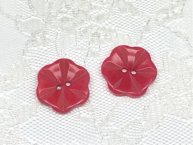 ボタン:フラワー型(M)/ピンク/2コ入<14>