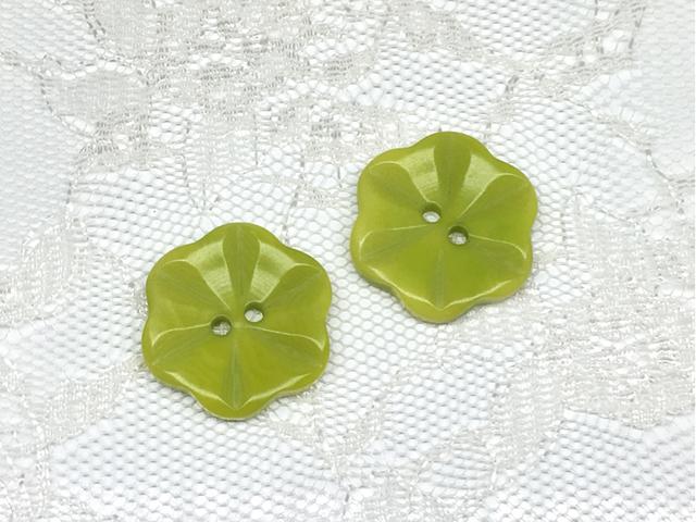 ボタン:フラワー型(M)/黄緑/2コ入<16>