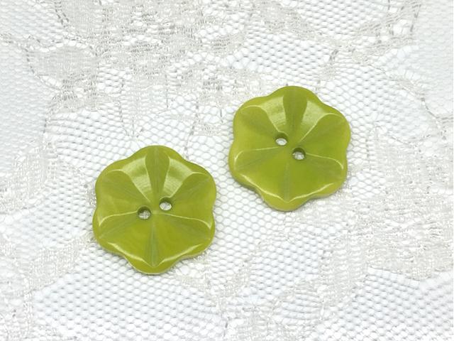 ボタン:フラワー型(L)/黄緑/2コ入<20>