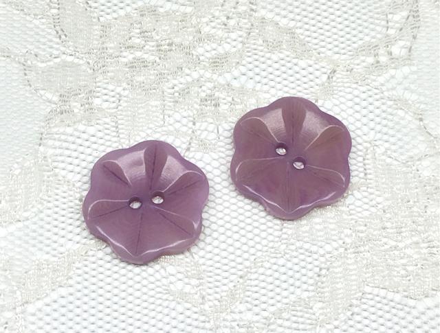 ボタン:フラワー型(L)/薄紫/2コ入<21>