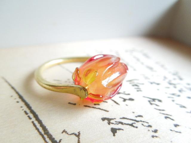 【FT】薔薇のつぼみリング(テキーラサンライズ×金)