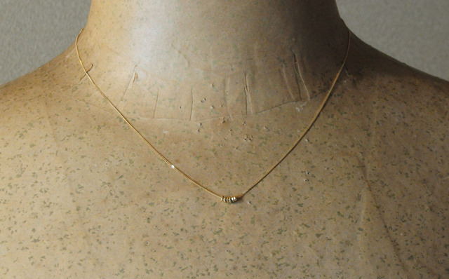 SALE!! very thin mirror ball necklace6粒 k18