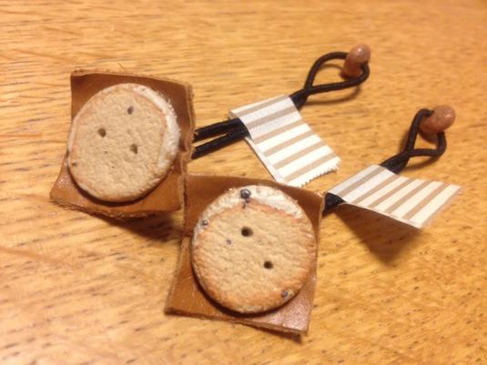 牛革&陶器ヘアゴム2個セット