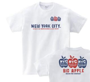 【再販】3 A p p l e s & N Y C ( B i g A p p l e )両面 150.160.(女性M.L) S〜XL Tシャツ【受注生産品】