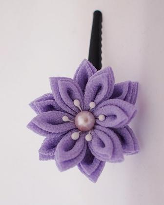 つまみ細工 二重剣つまみ ヘアピン 薄紫