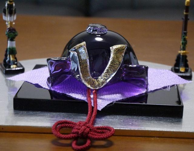 【mihoyuhiさまご予約品】ガラスのかぶと(濃紫)弓太刀セット