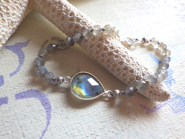 Framed Gemstone Bracelet--ラブラドライト sv925